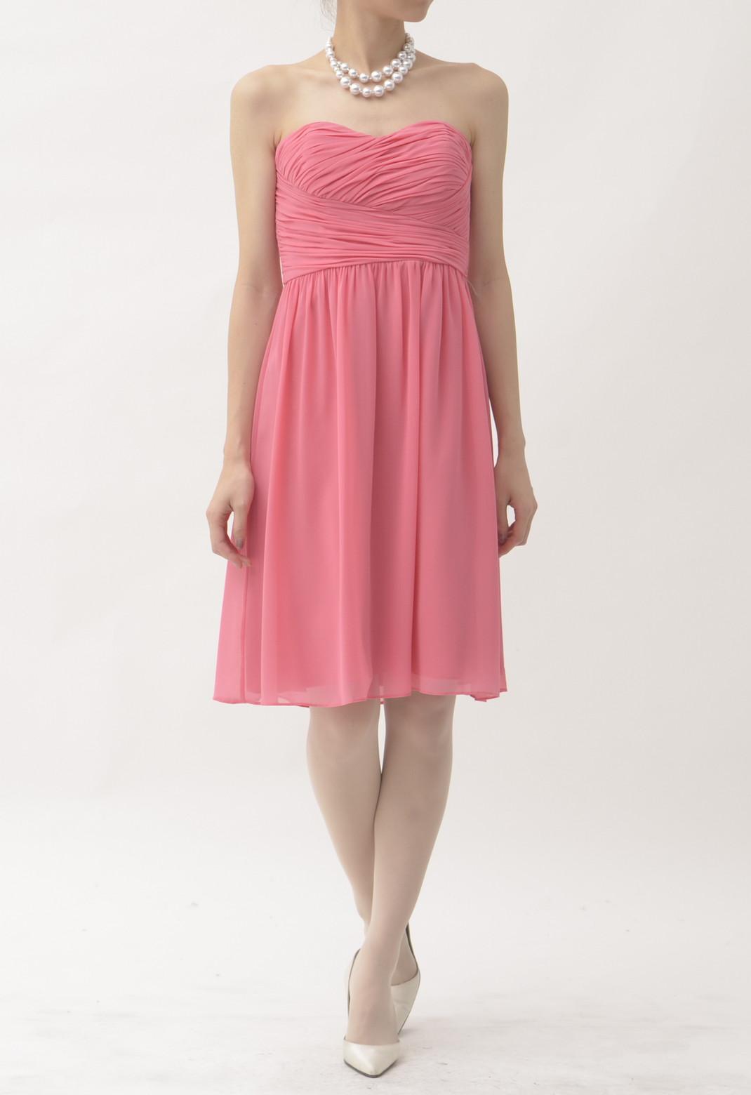 タックプリーツ ストラップレス ドレス
