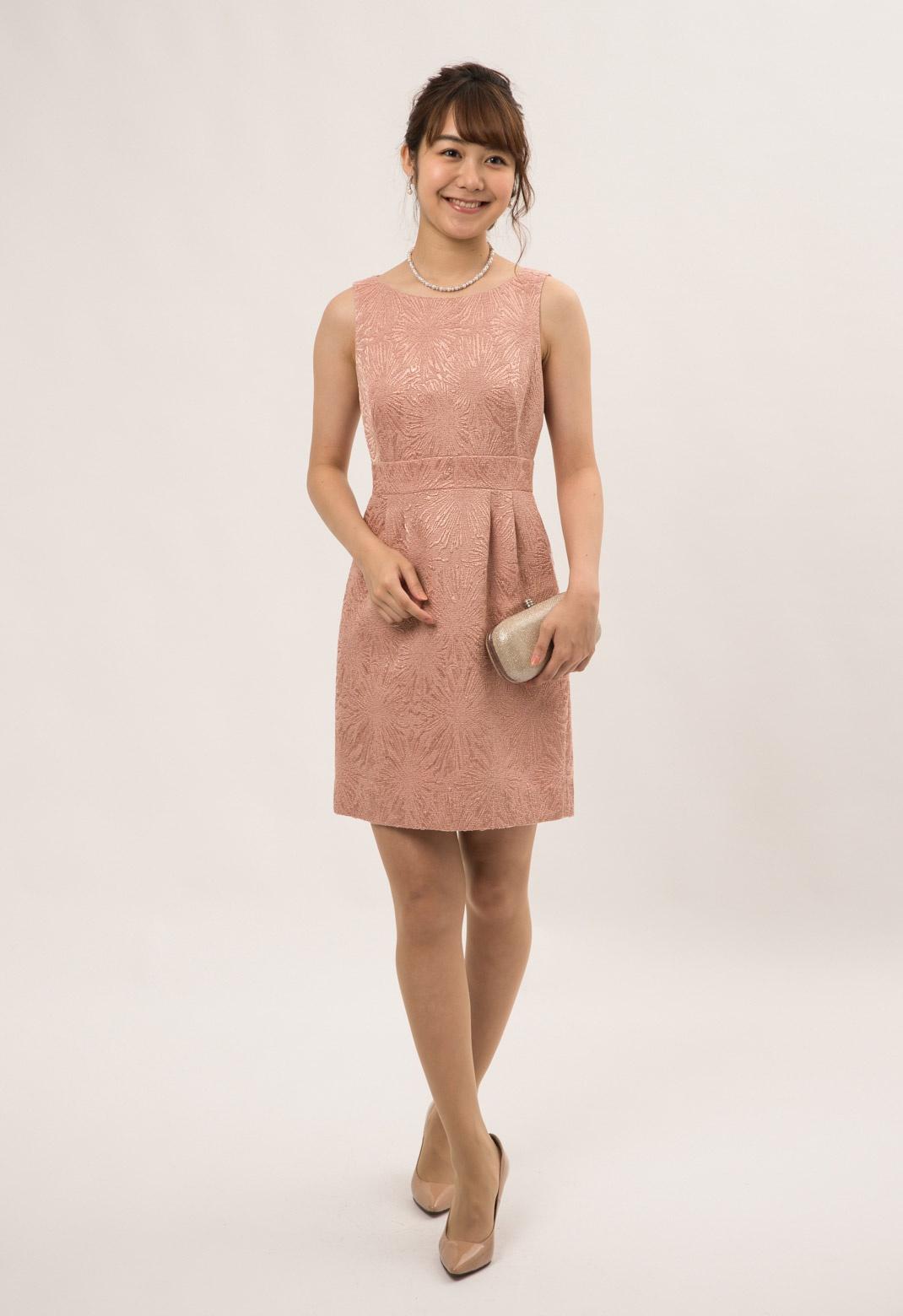 フラワー模様加工 ノースリーブ ドレス