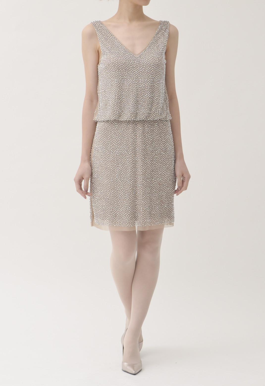 総シルバービーズ飾り ノースリーブ ドレス
