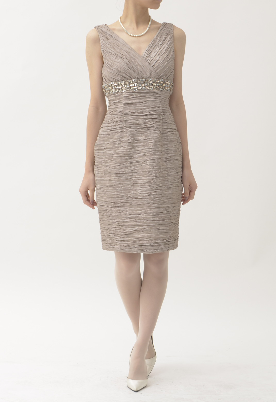 ウエストビジュー飾り ノースリーブ ドレス