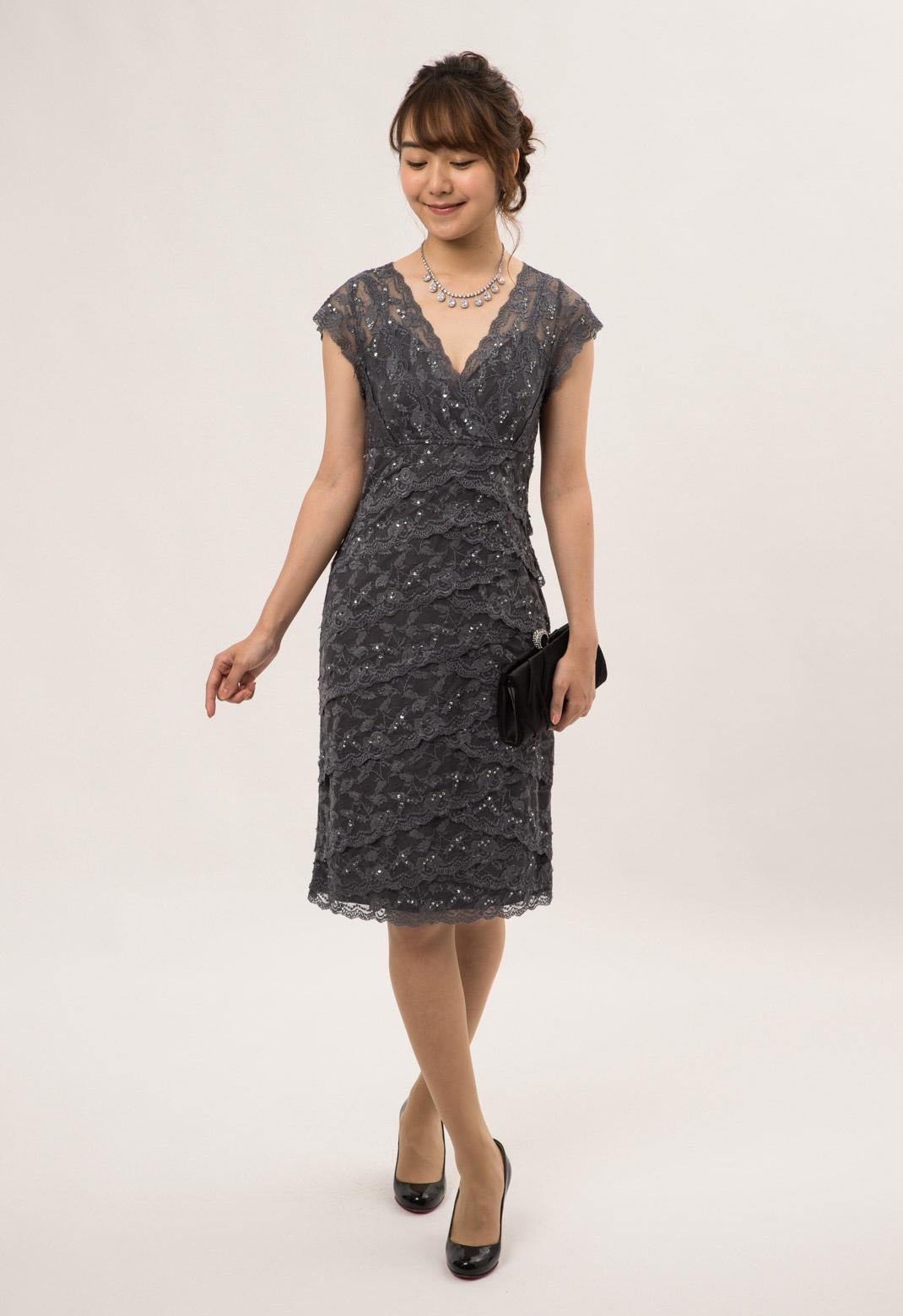 MARINA スパンコール×レース 半袖 ドレス
