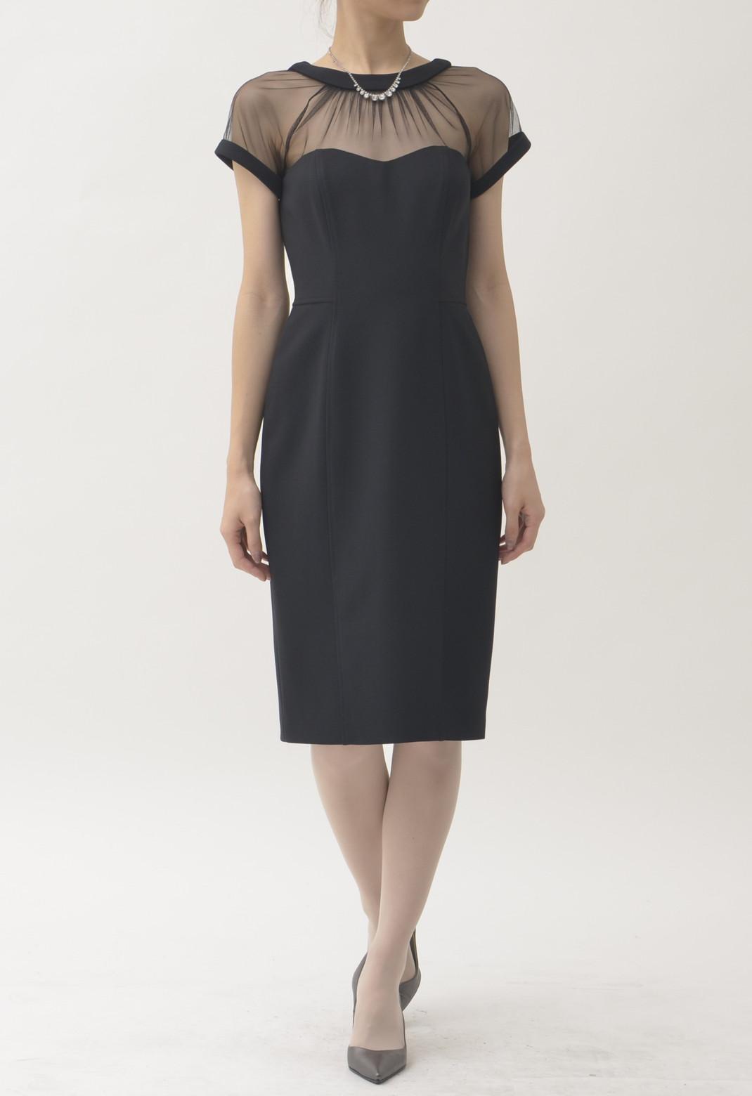 シースルーチュール 半袖 ドレス