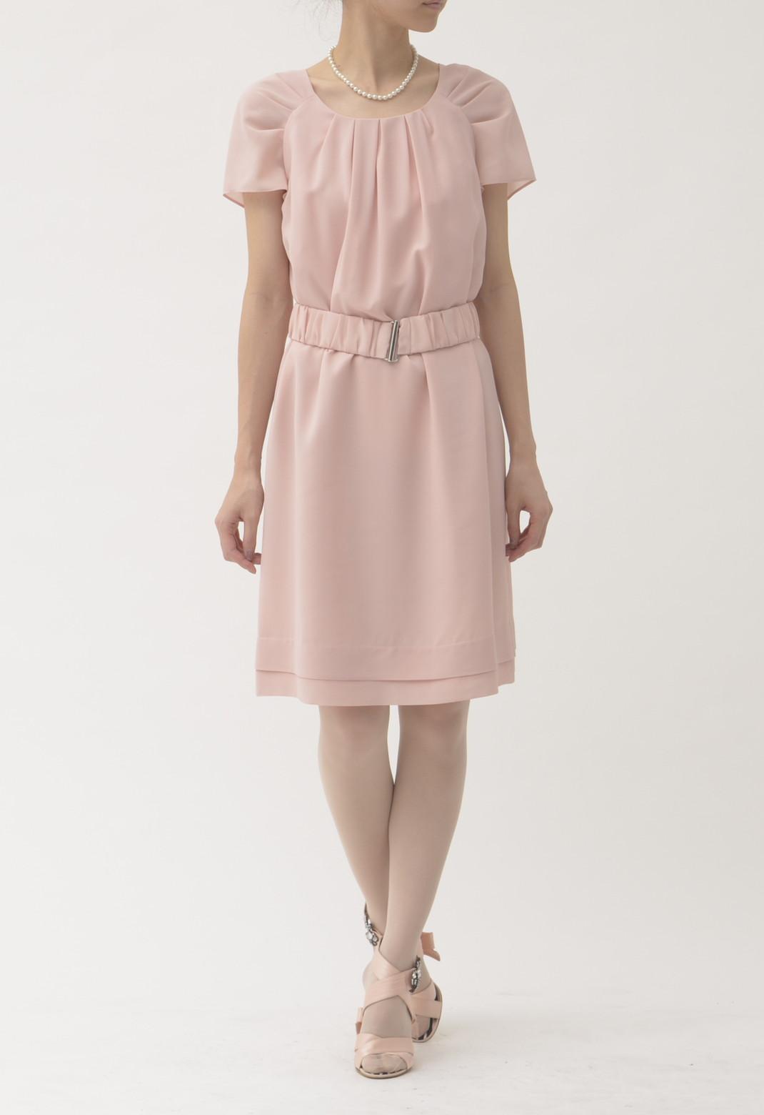 ベルト付き 半袖ドレス