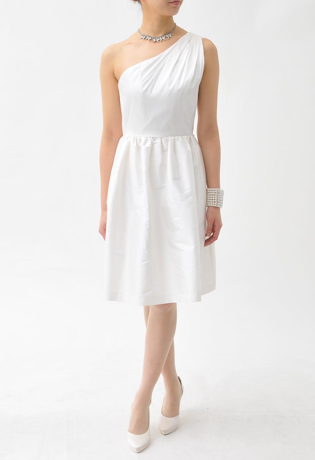 タックギャザー ワンショルダー ドレス