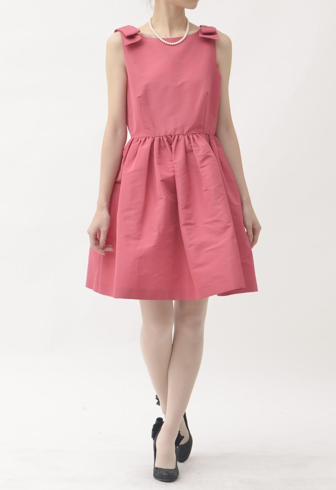 ショルダーリボン飾り ノースリーブドレス