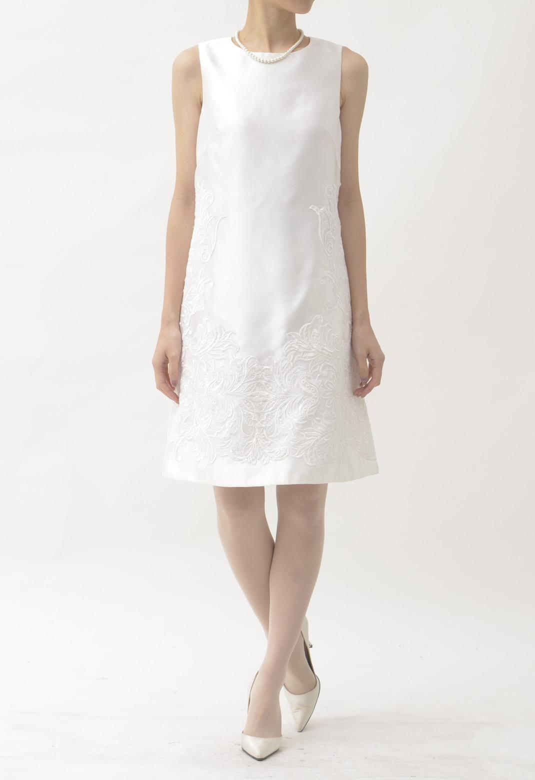 サイドレース×スパンコール刺繍 ノースリーブ ドレス