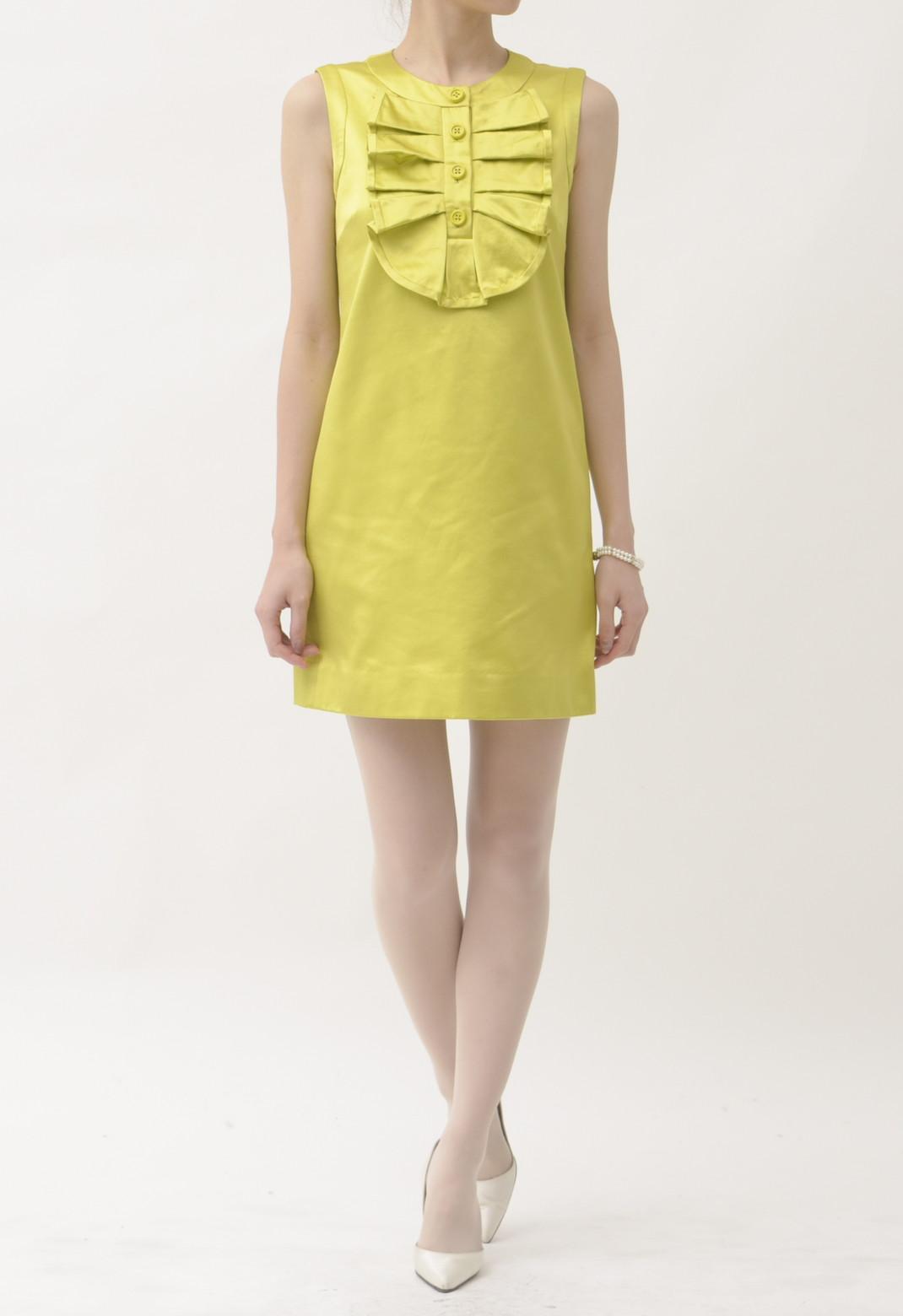 ケイトスペード フロントタックフリル シルク混 ノースリーブ ドレス