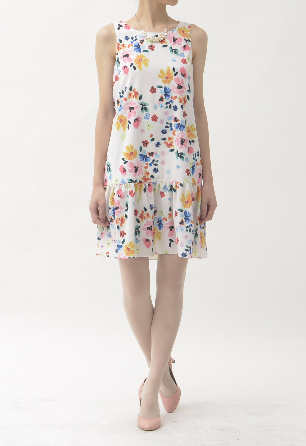 ☆CYNTHIA STEFFE フラワープリント ノースリーブ ドレス