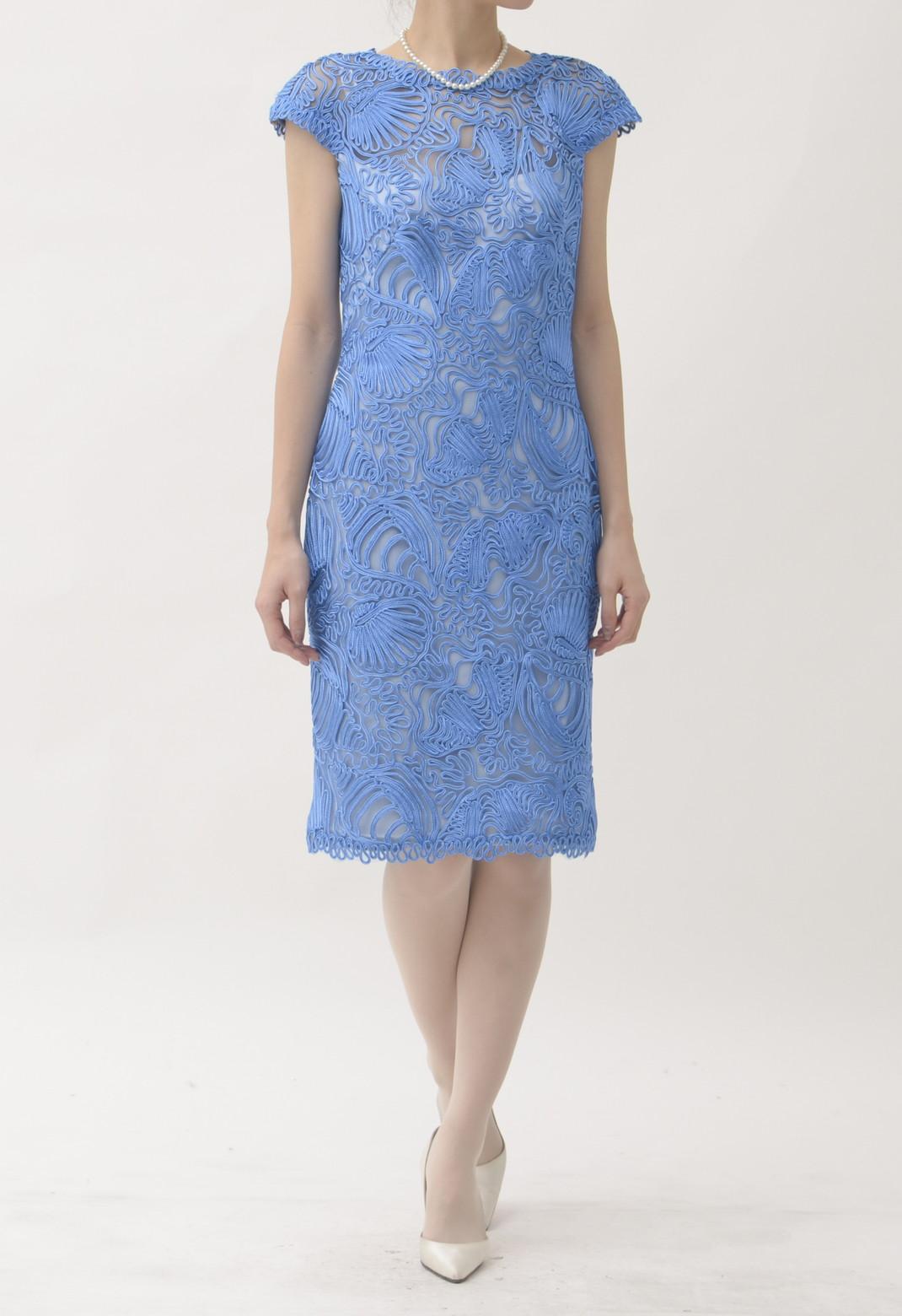総刺繍フレンチスリーブドレス
