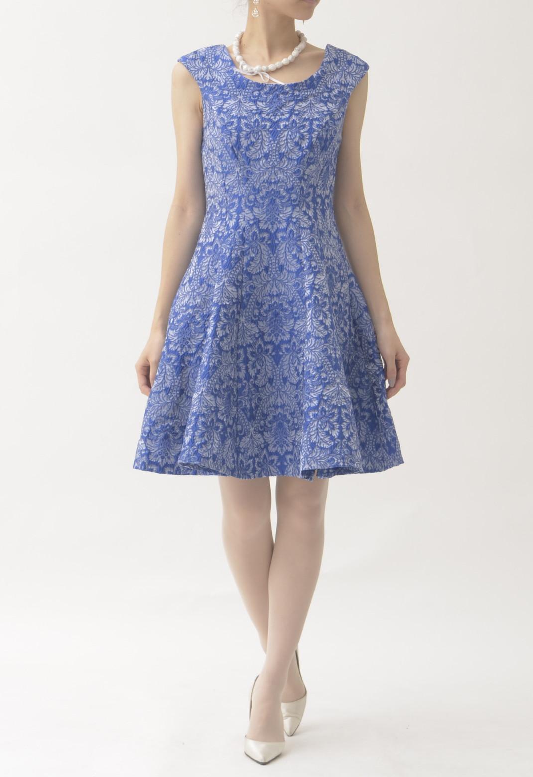 ジャガード織り フレアースカート ノースリーブ ドレス