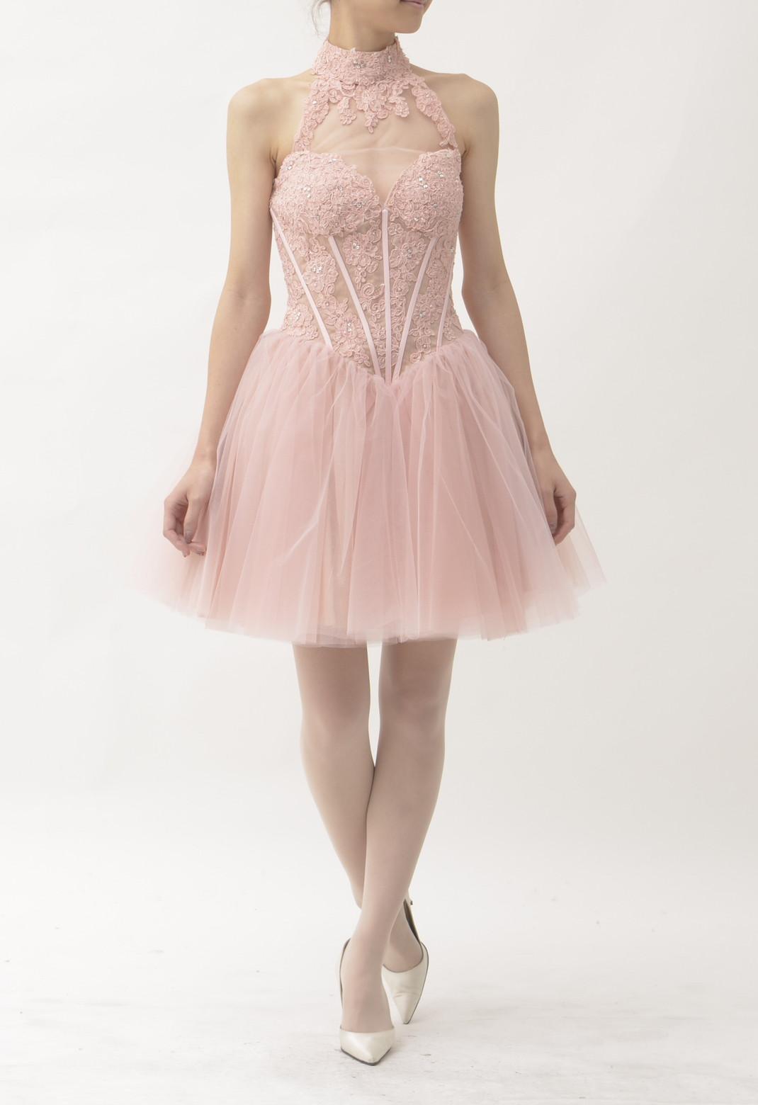 ビーズ× レース×チュール スタンドカラー ドレス