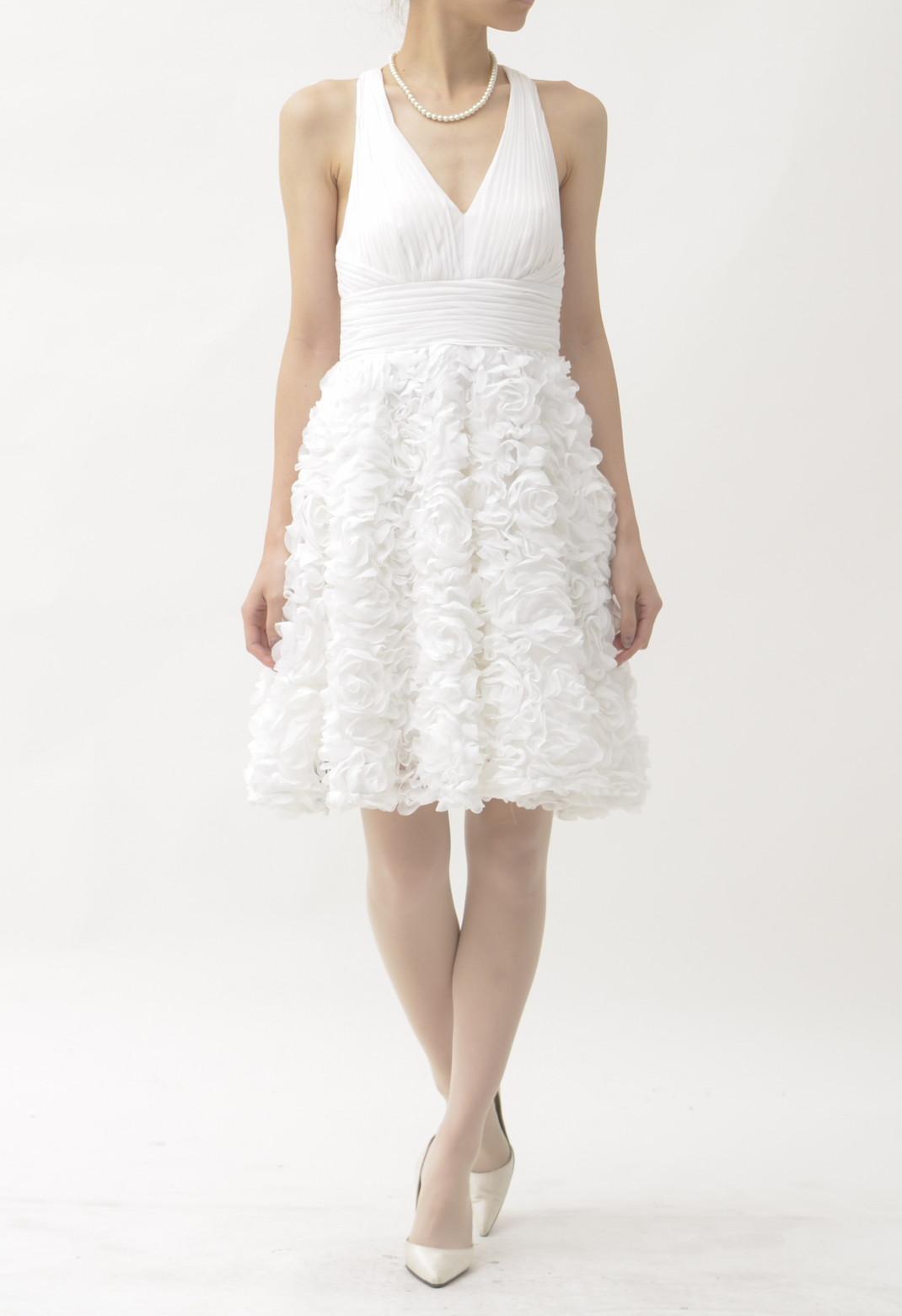 フラワーフリル ノースリーブ ドレス