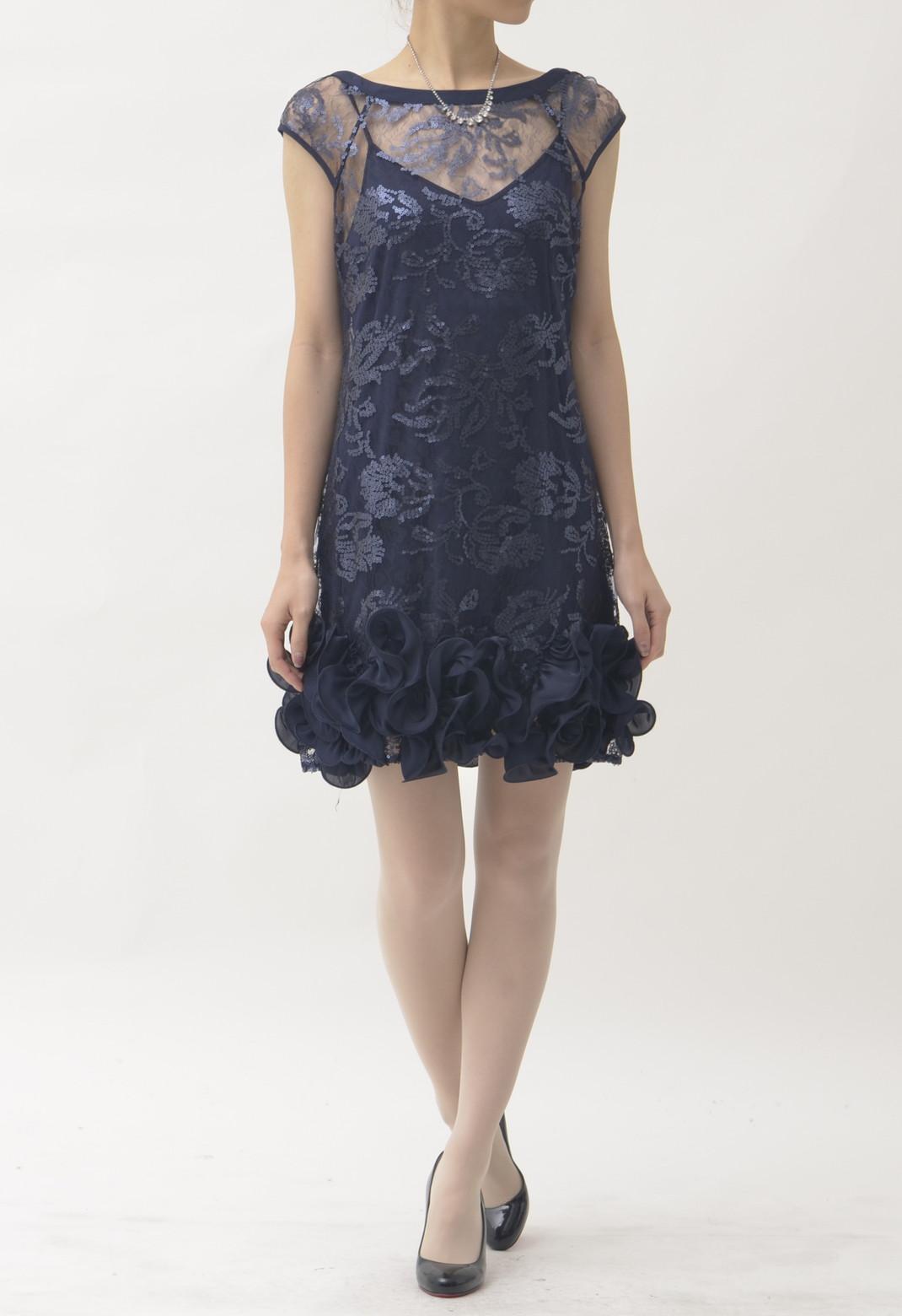 総レース×スパンコール 裾フリル 半袖 ドレス