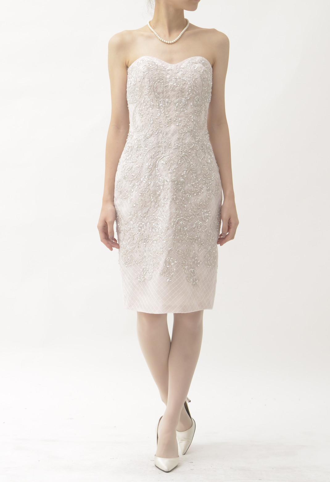 チュール×ペイズリー刺繍 ストラップレス ドレス