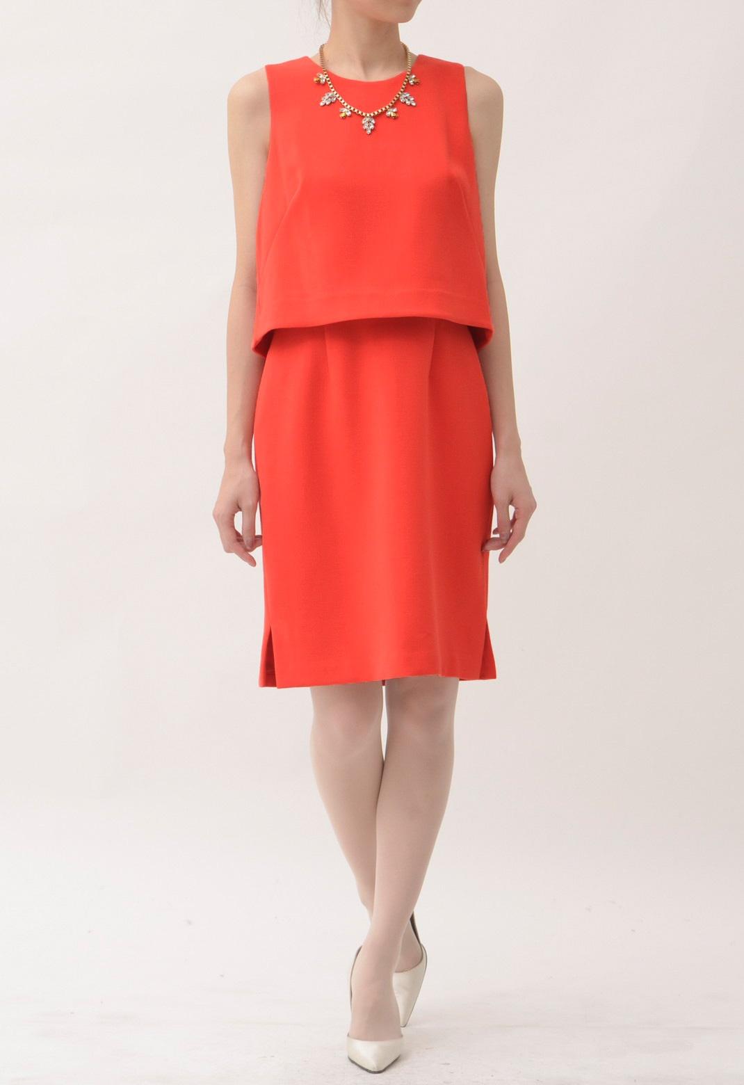 ツーピース風 ノースリーブ ドレス