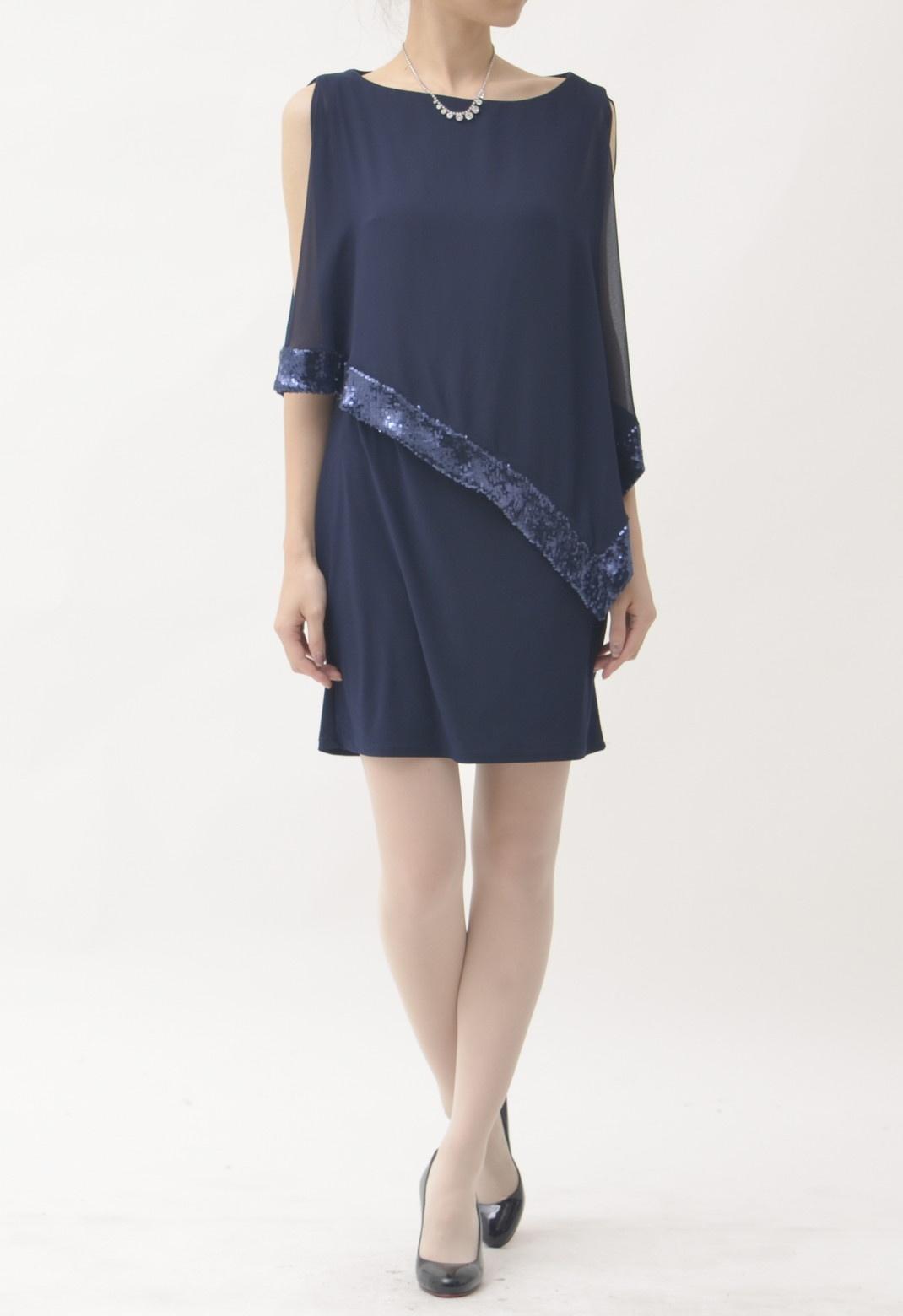 スパンコールトリム アシンメトリー 半袖 ドレス