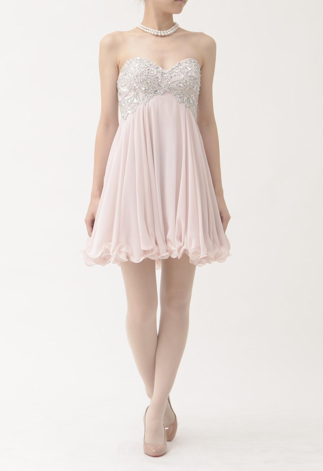 スパンコール×刺繍 ストラップレス ドレス