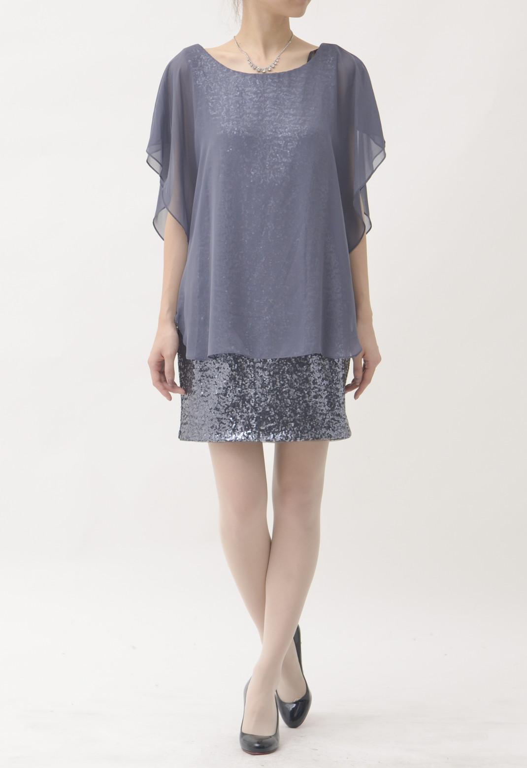 シフォン×スパンコール 半袖 ドレス