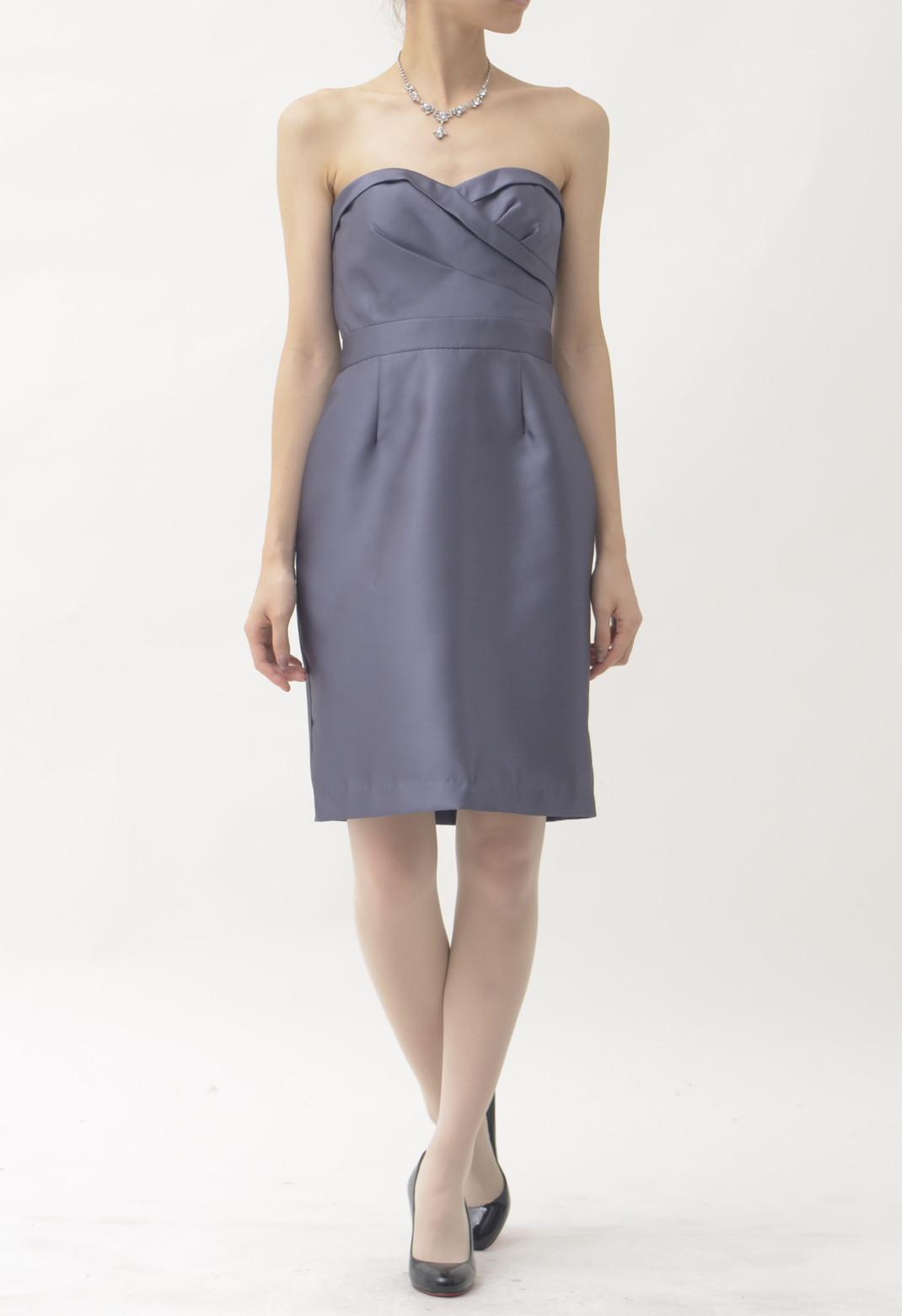 シルク バックリボン ストラップレス ドレス