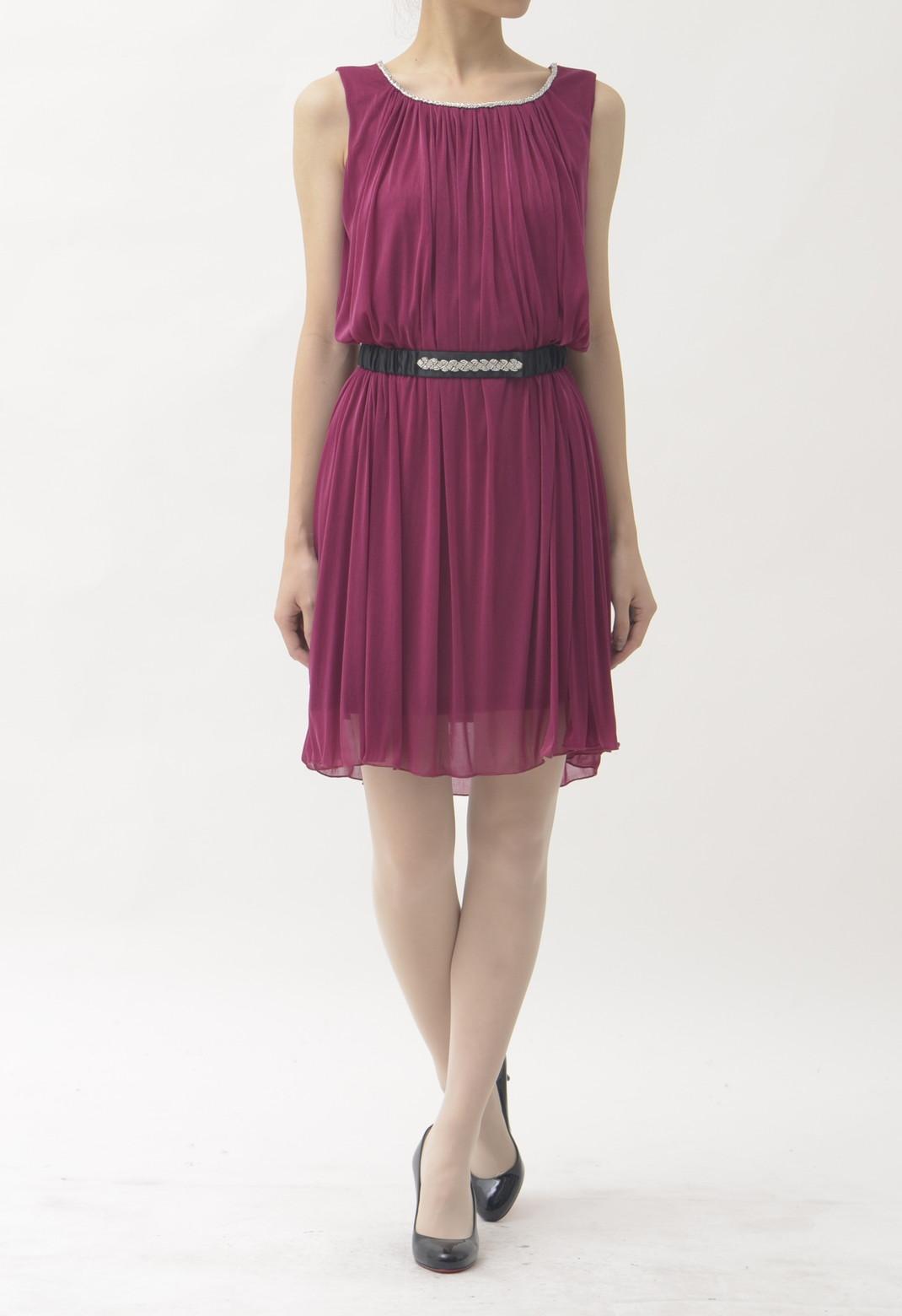 ネックビーズ飾り タックギャザー ノースリーブ ドレス