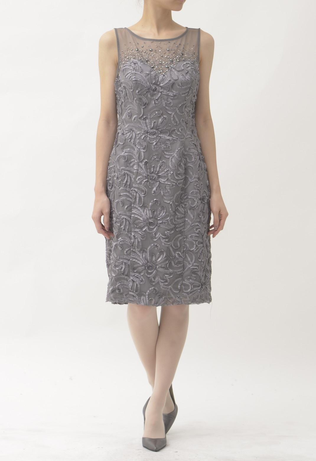ビーズ飾りリボン刺繍 ノースリーブ ドレス