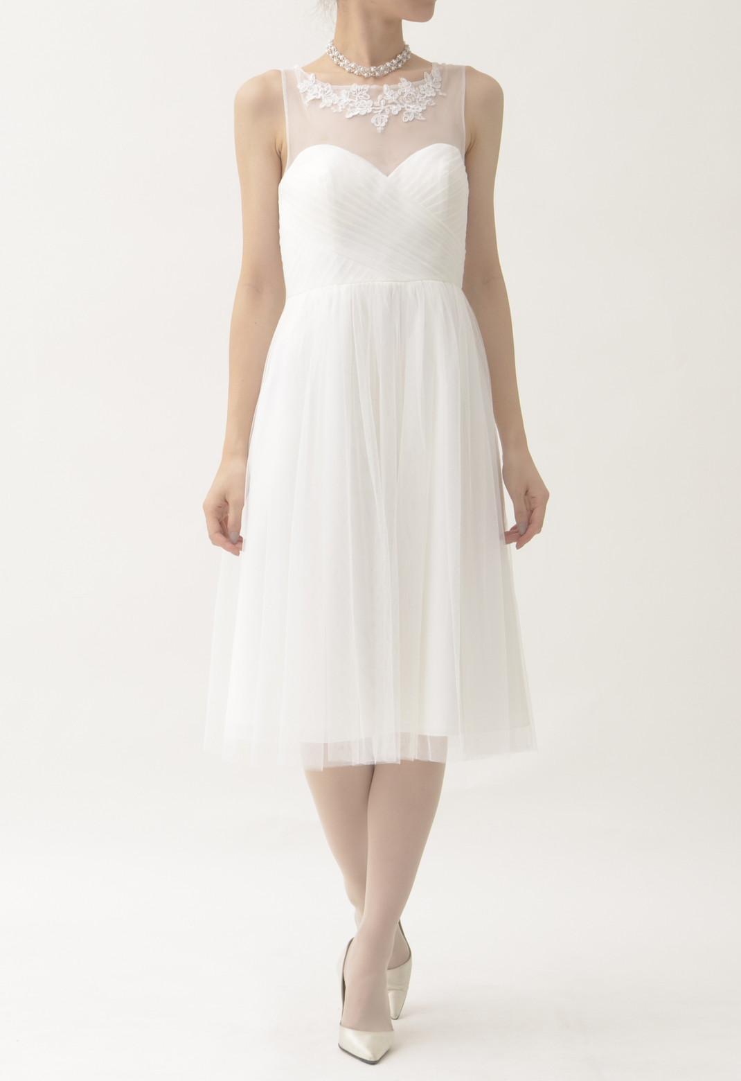 胸元レース×チュール ノースリーブ ドレス