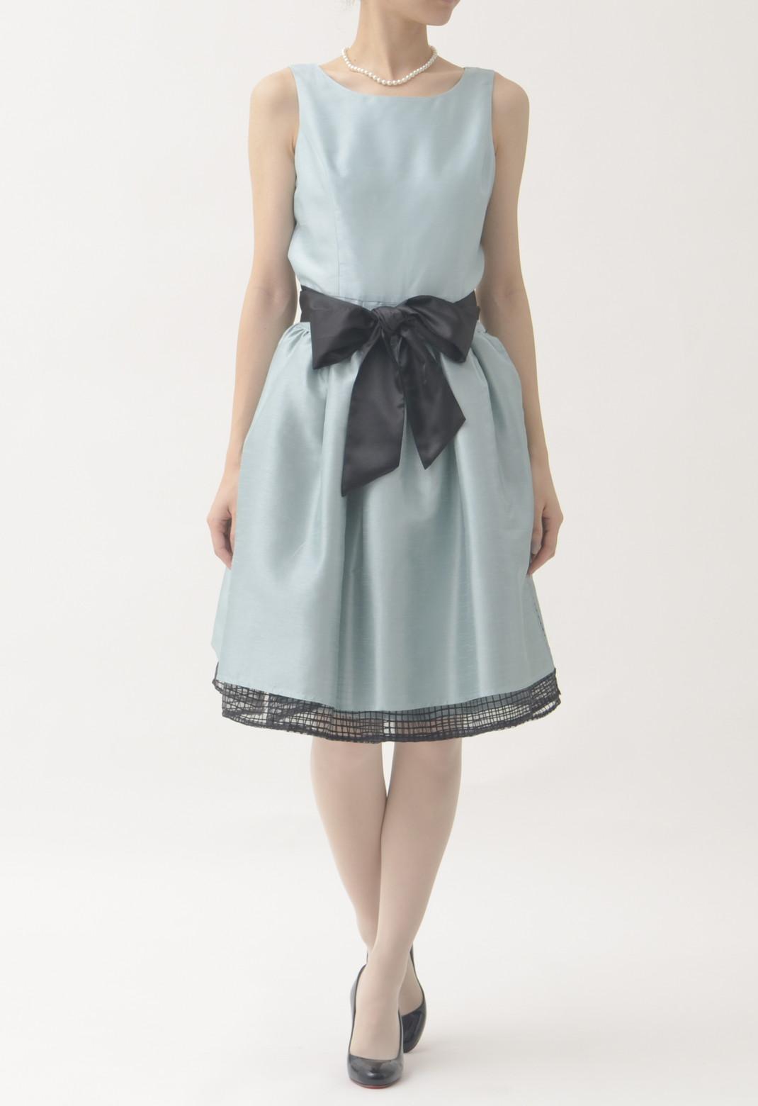 ウエストリボン スカート付 3way ノースリーブ ドレス