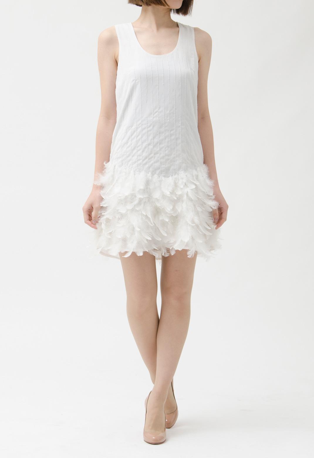 ビーズ飾り×裾フェザー ノースリーブ ドレス