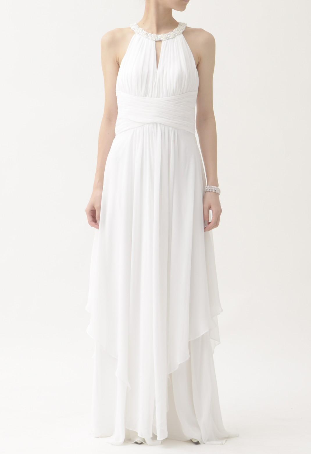 dbi studio ネックビジュー飾り  アメリカンスリーブ ロング ドレス