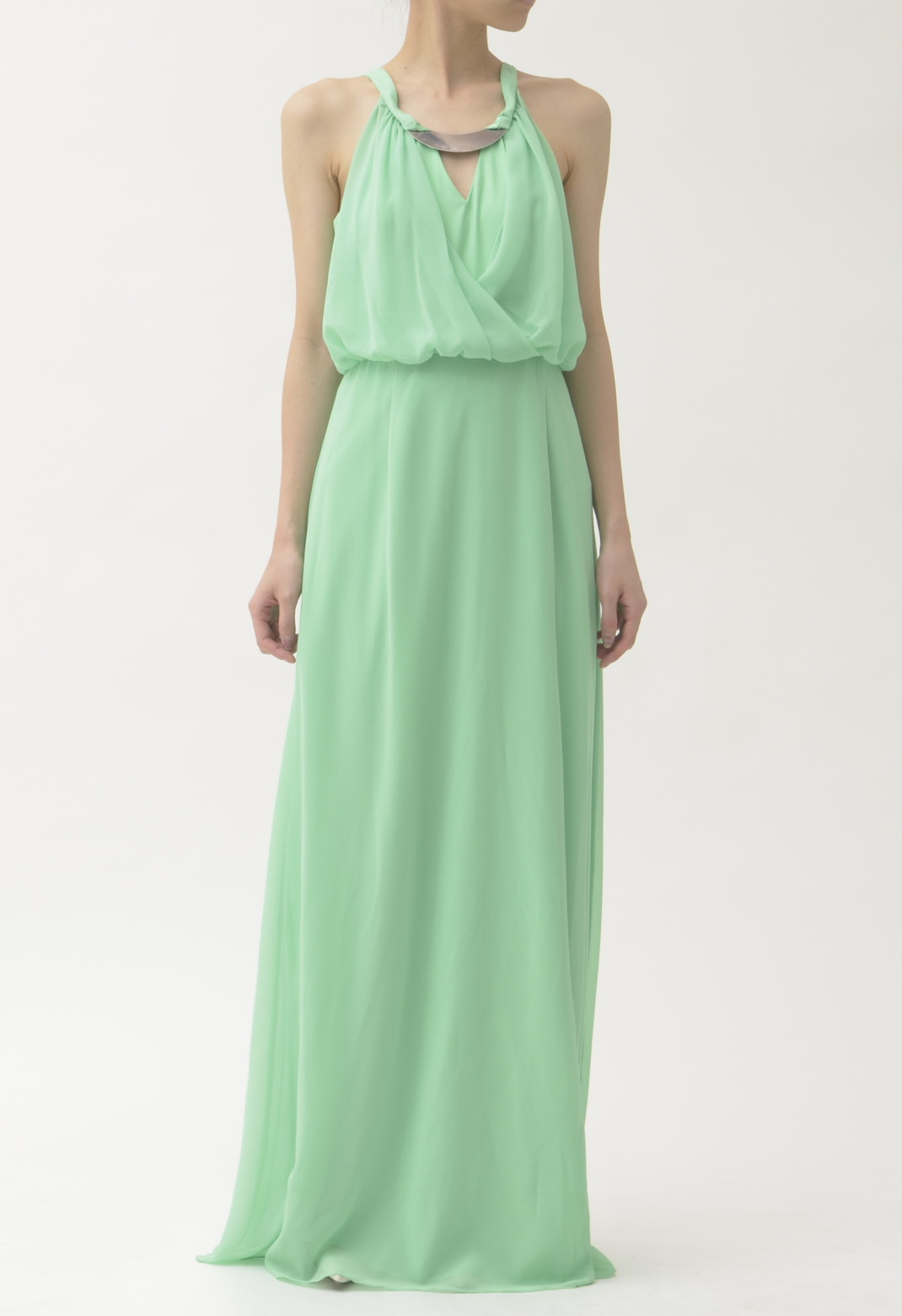 VINCE CAMUTO シルバープレート飾り ノースリーブ ロング ドレス