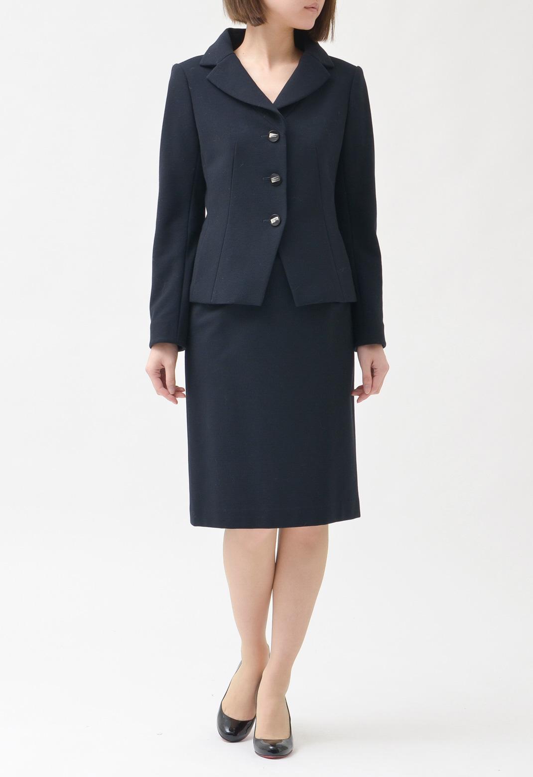 スーツ ピークドラペル 長袖 ジャケット & 膝丈スカート 38