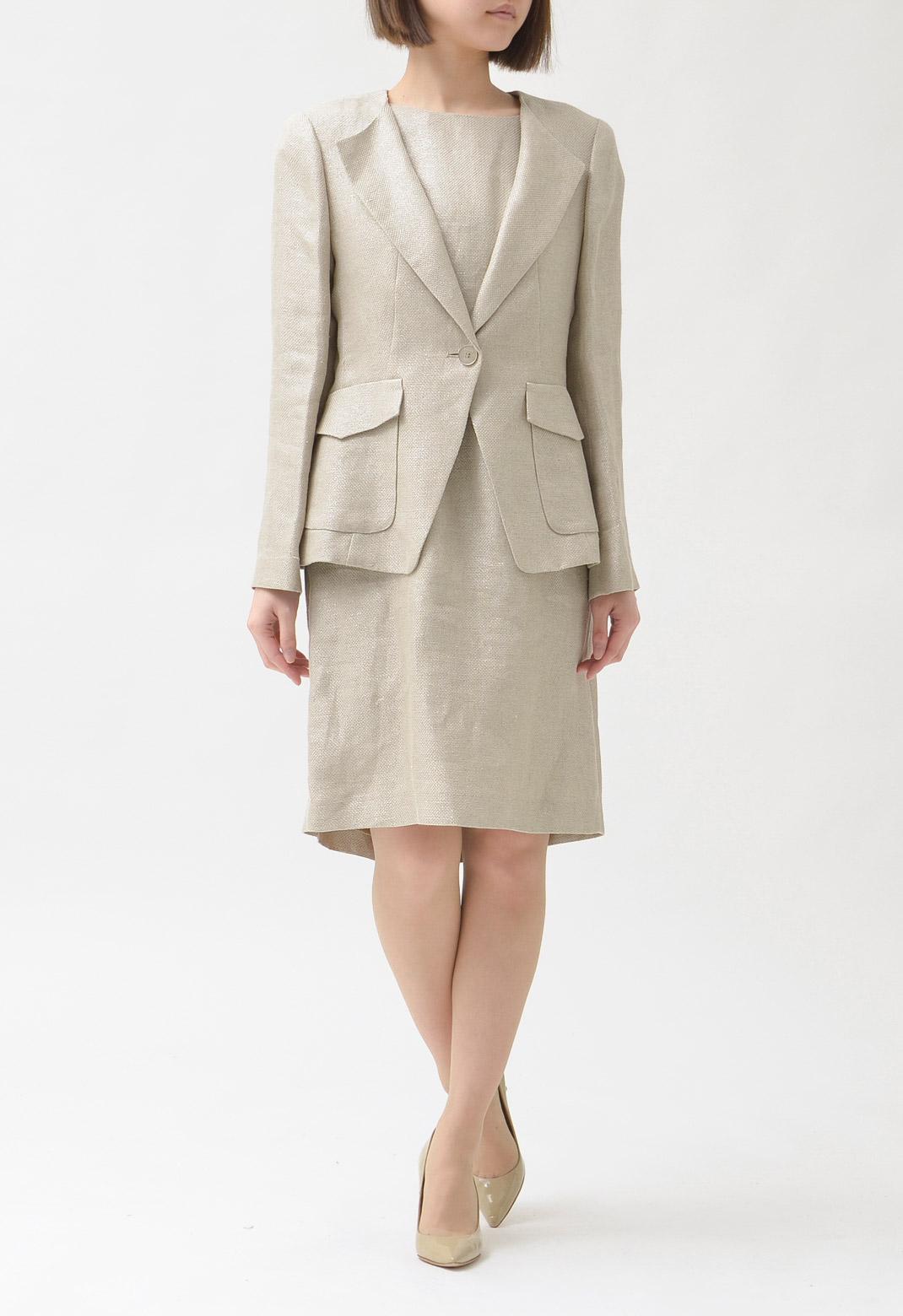 スーツ 麻混 長袖 ジャケット & フレンチスリーブ ワンピース