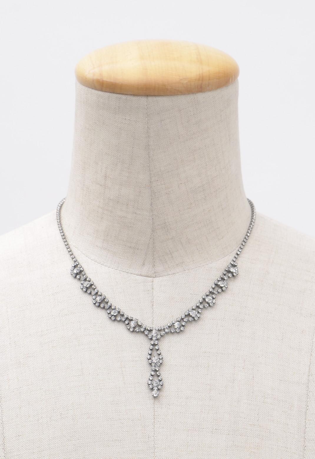 Y字型 ラインストーン シルバー ネックレス