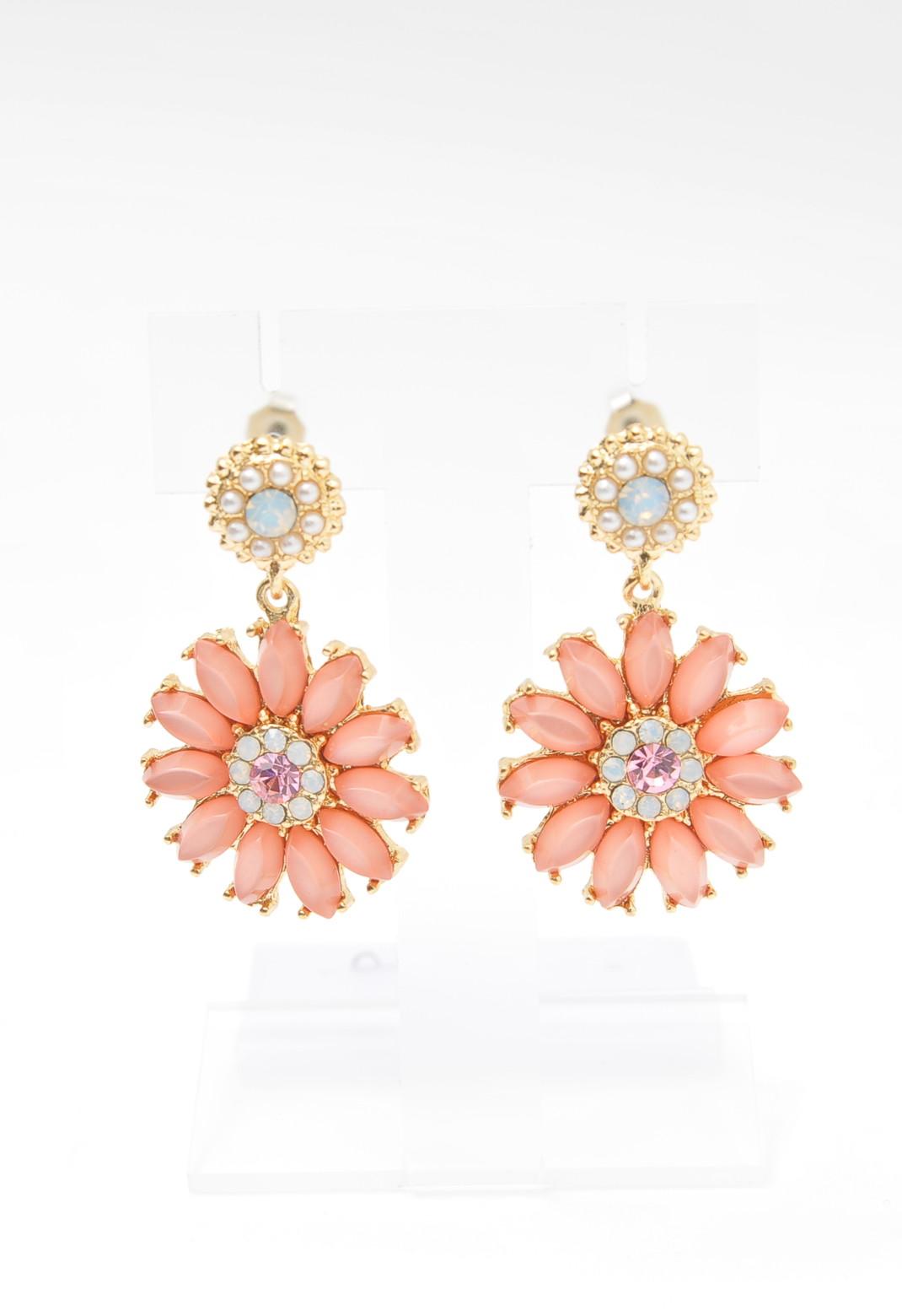 フラワーモチーフ イエロー × ホワイトストーン ピアス ピンク