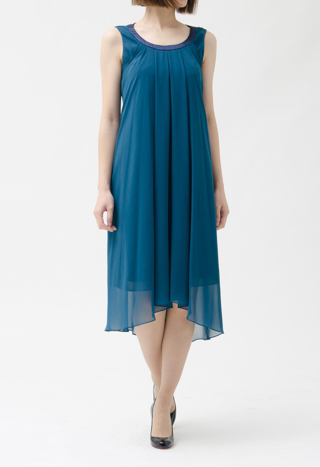 ネックサテントリム ドレープ ノースリーブ ドレス