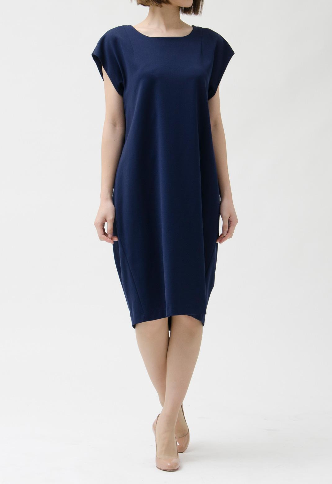 バックドレープ ビスコース 半袖 ドレス