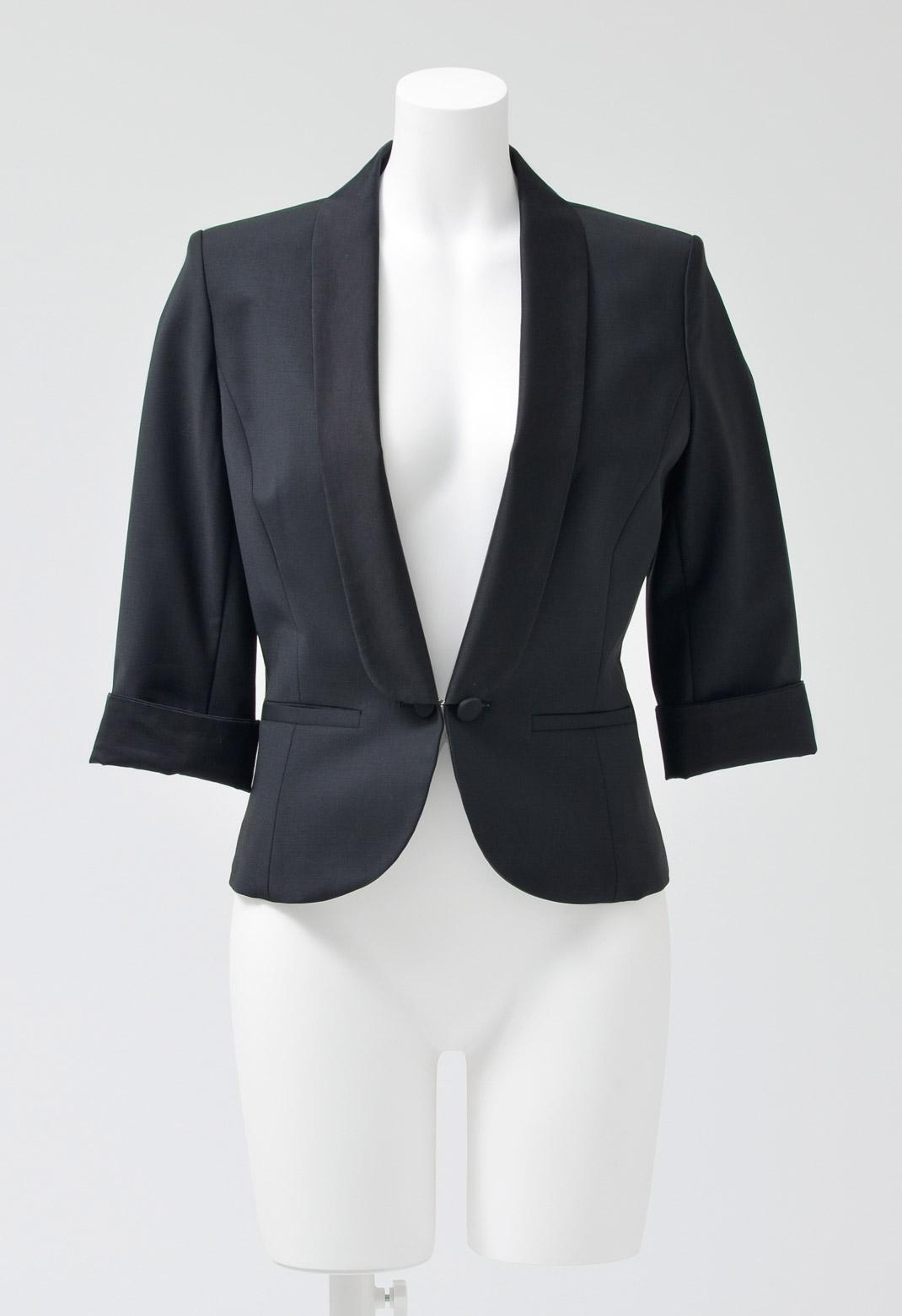 バックプリーツ 一つボタン 長袖 ジャケット
