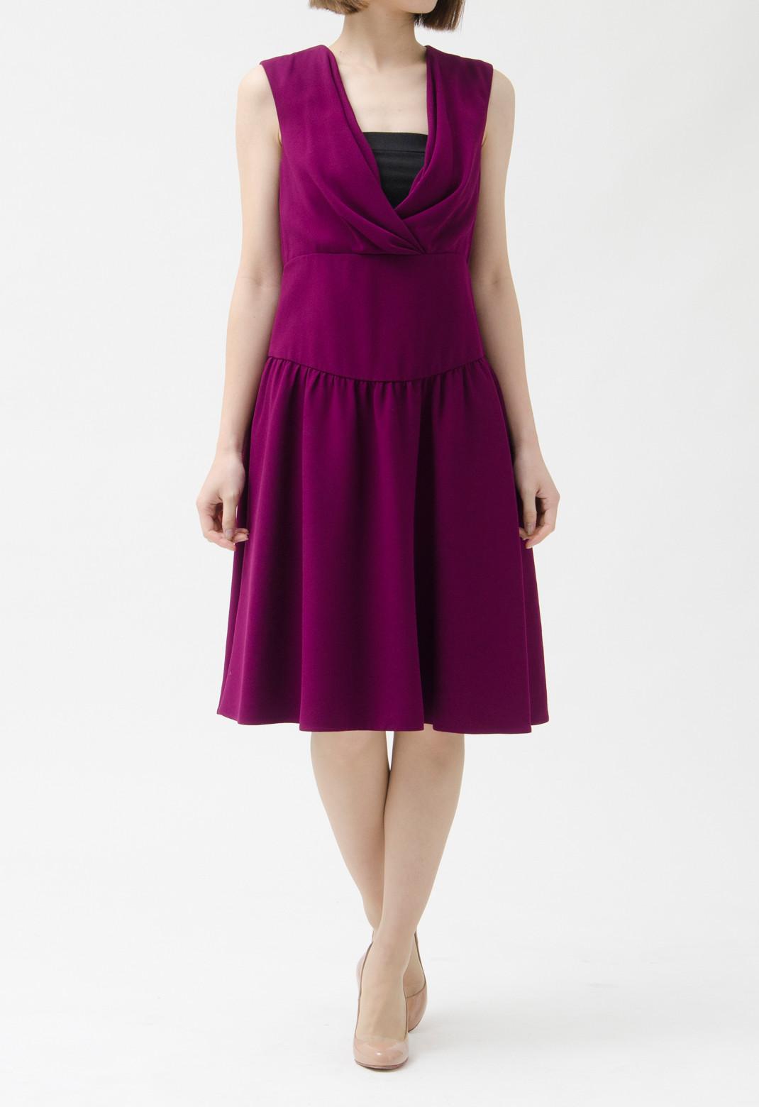 プラダ サープリスネック ドレープ ノースリーブ ドレス