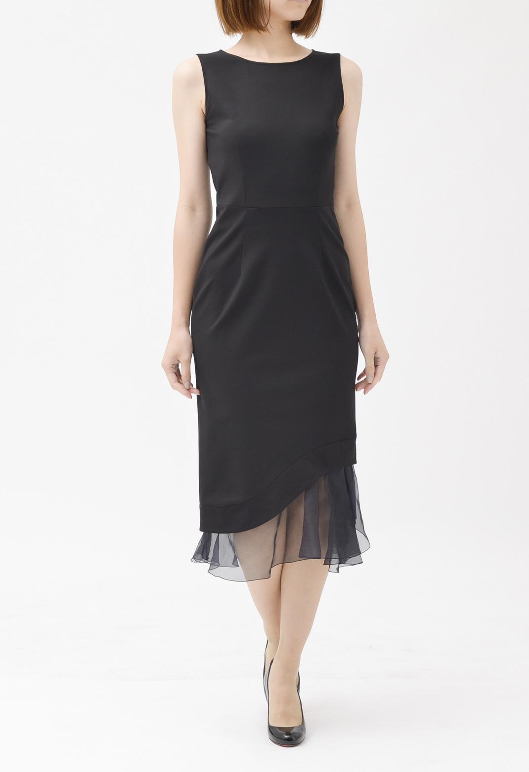 裾オーガンジー ノースリーブ ドレス