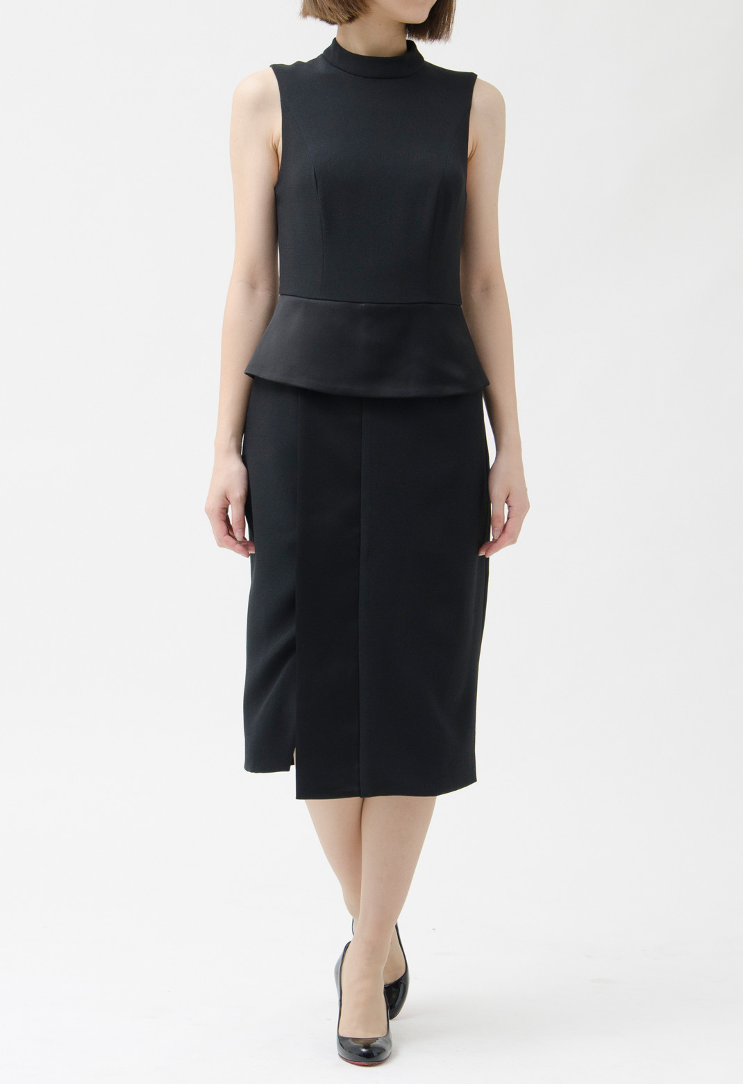 スタンドカラー ウエストペプラム ノースリーブ ドレス