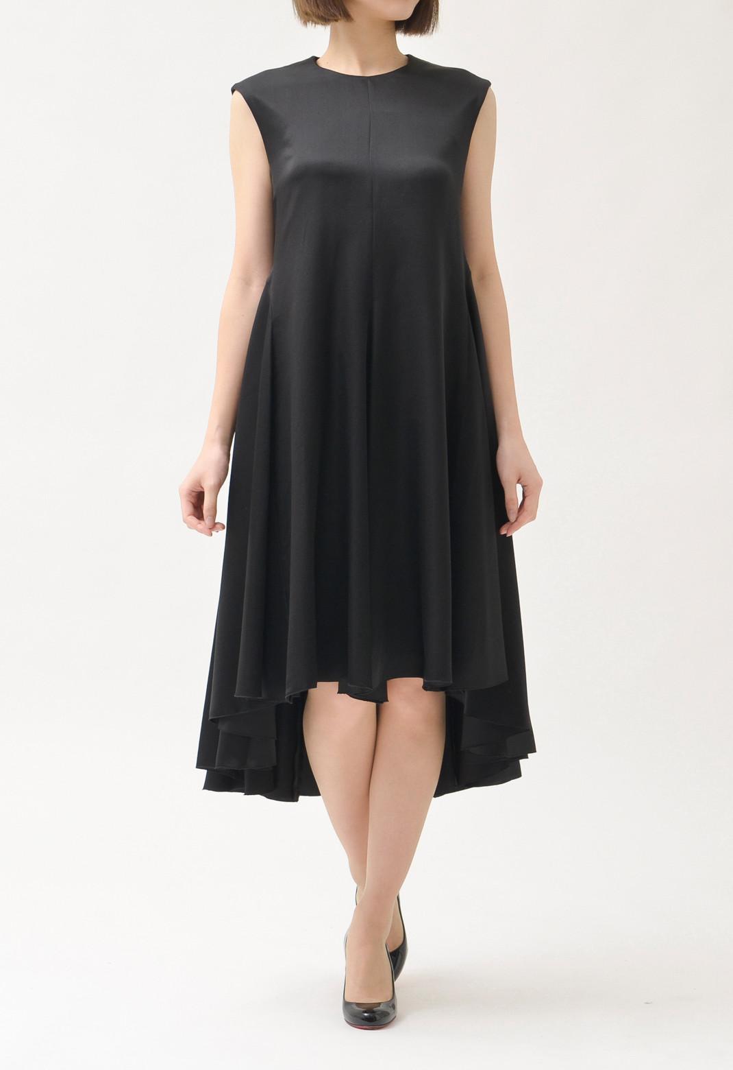 裾アシンメトリー シルク ノースリーブドレス ブラック