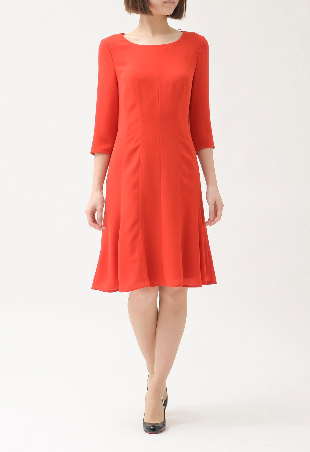 裾フレア 七分袖ドレス