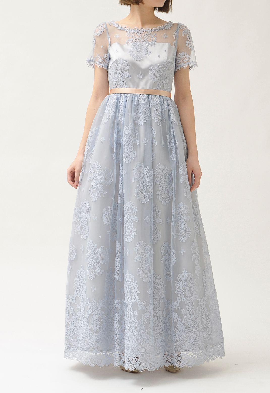 総レース チュチュ付き 半袖 ロングドレス