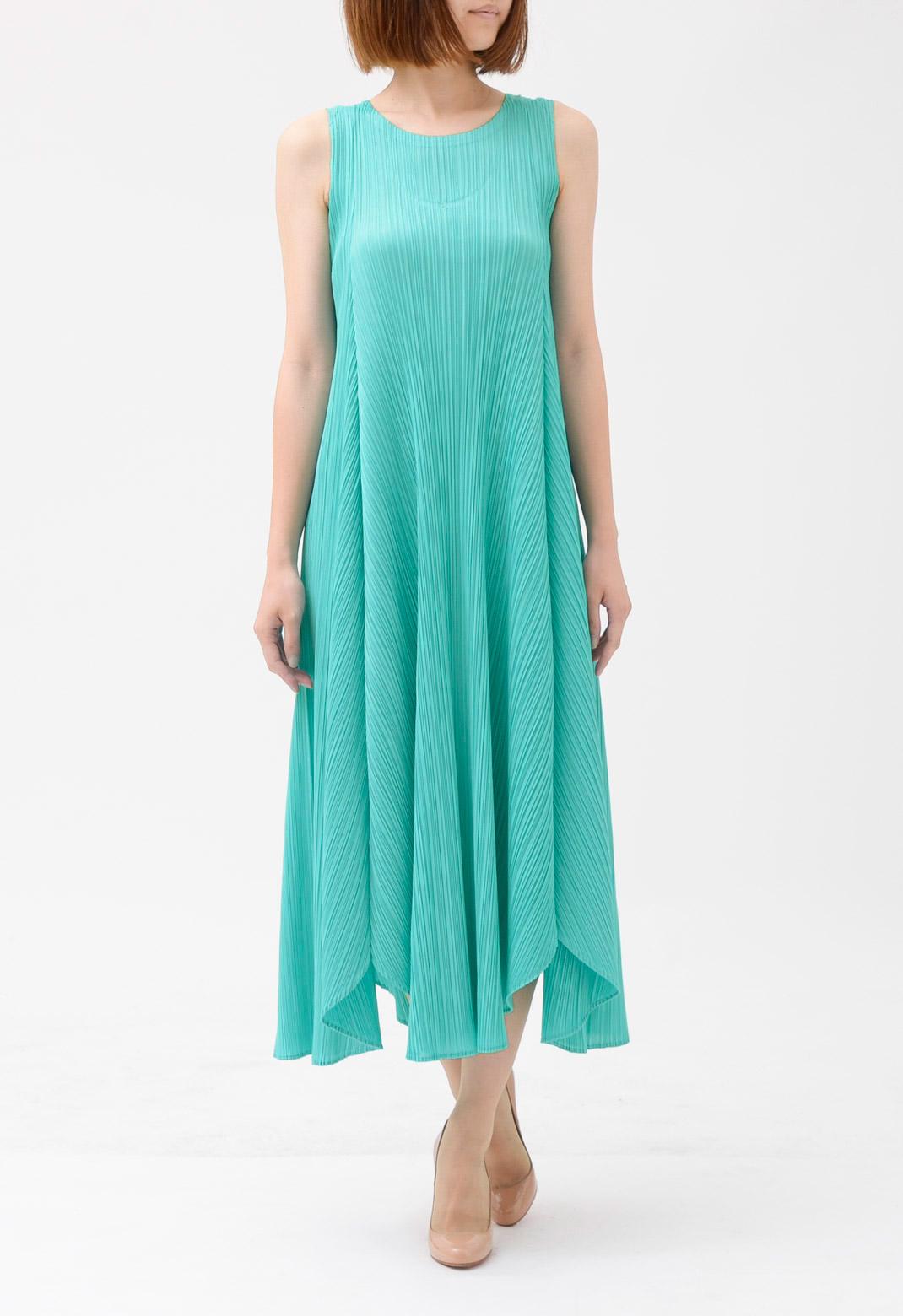 プリーツ ノースリーブ ロング ドレス