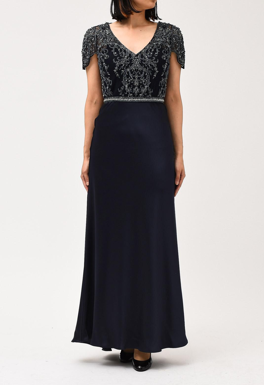 ビーズ刺繍 Vネック 半袖 ロング ドレス