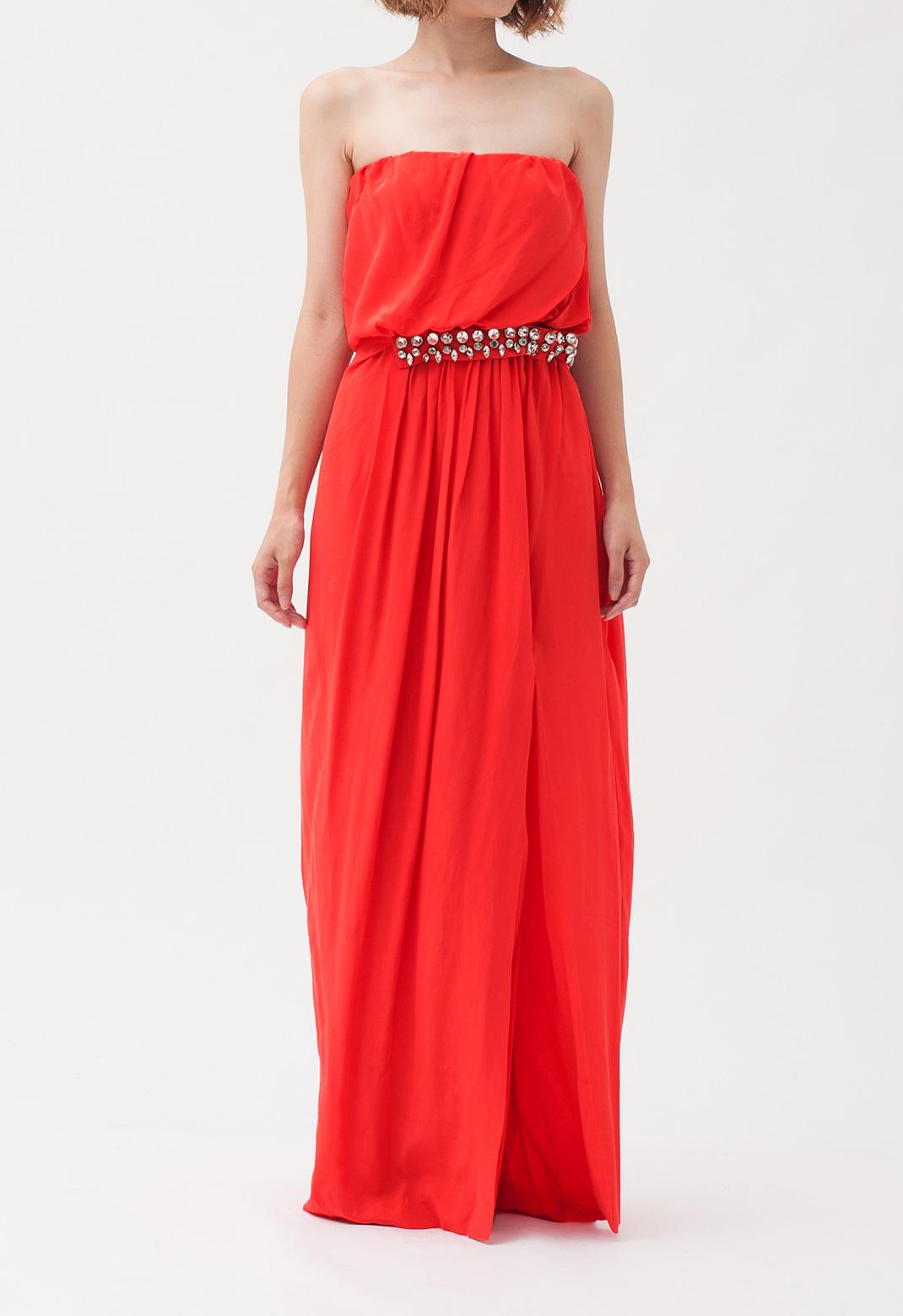 ウエストビジュー飾り ストラップレス ロング ドレス