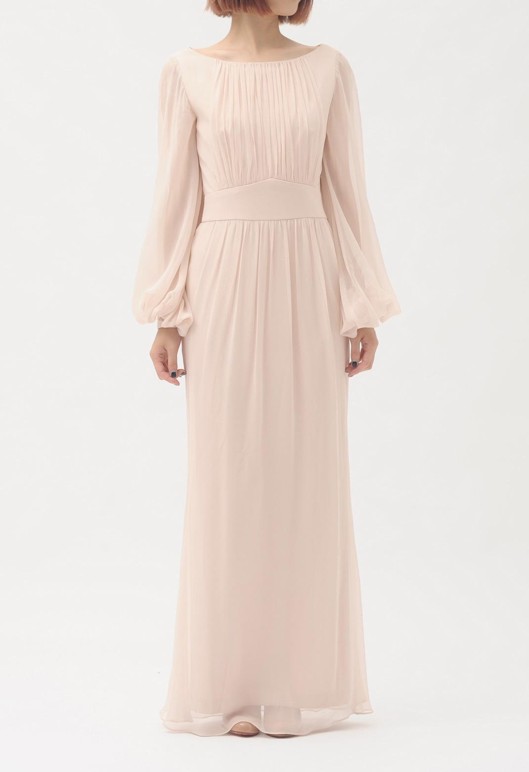 シルク 長袖 ロング ドレス