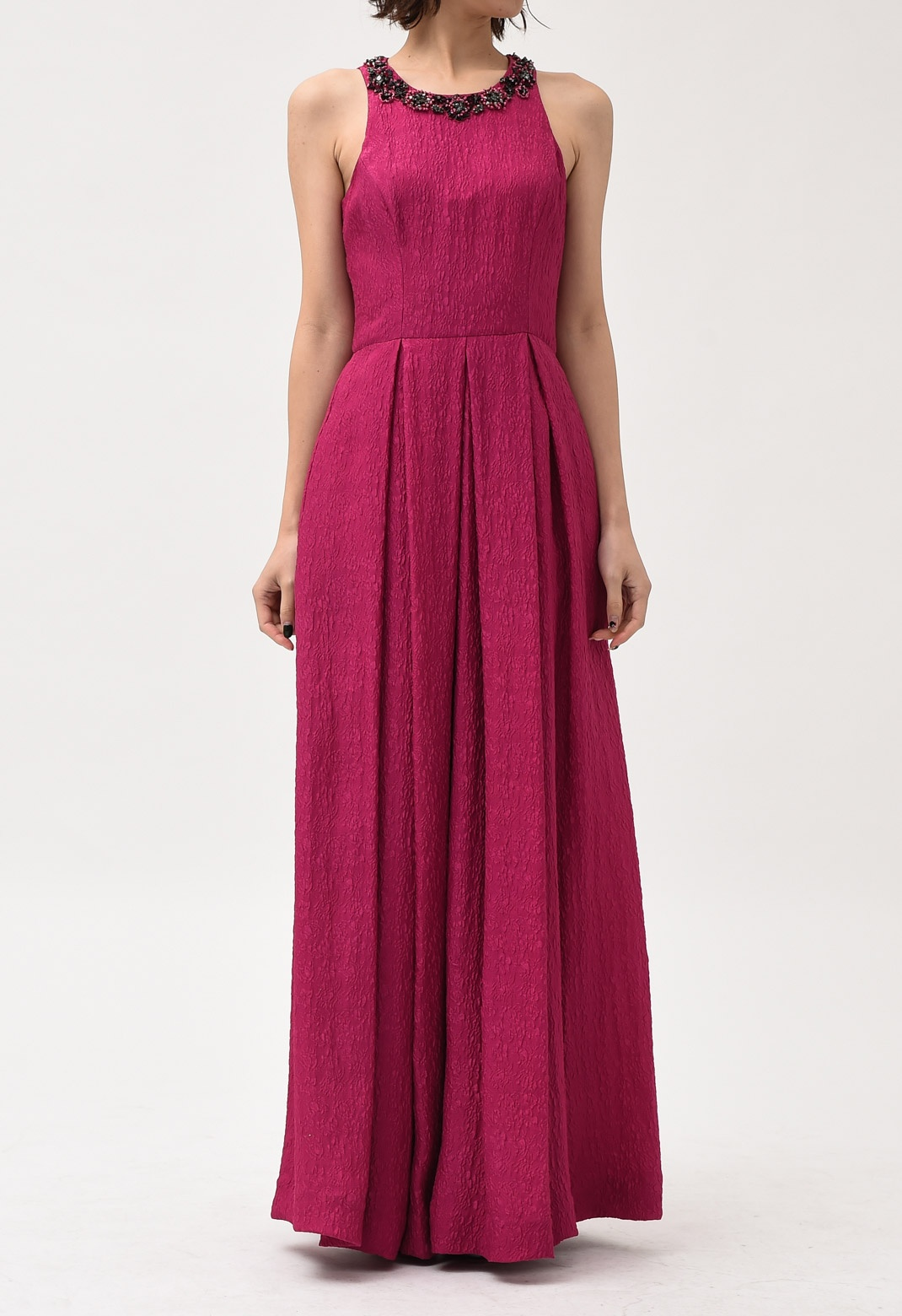 ネックビジュー飾り シルク混 ロング ドレス