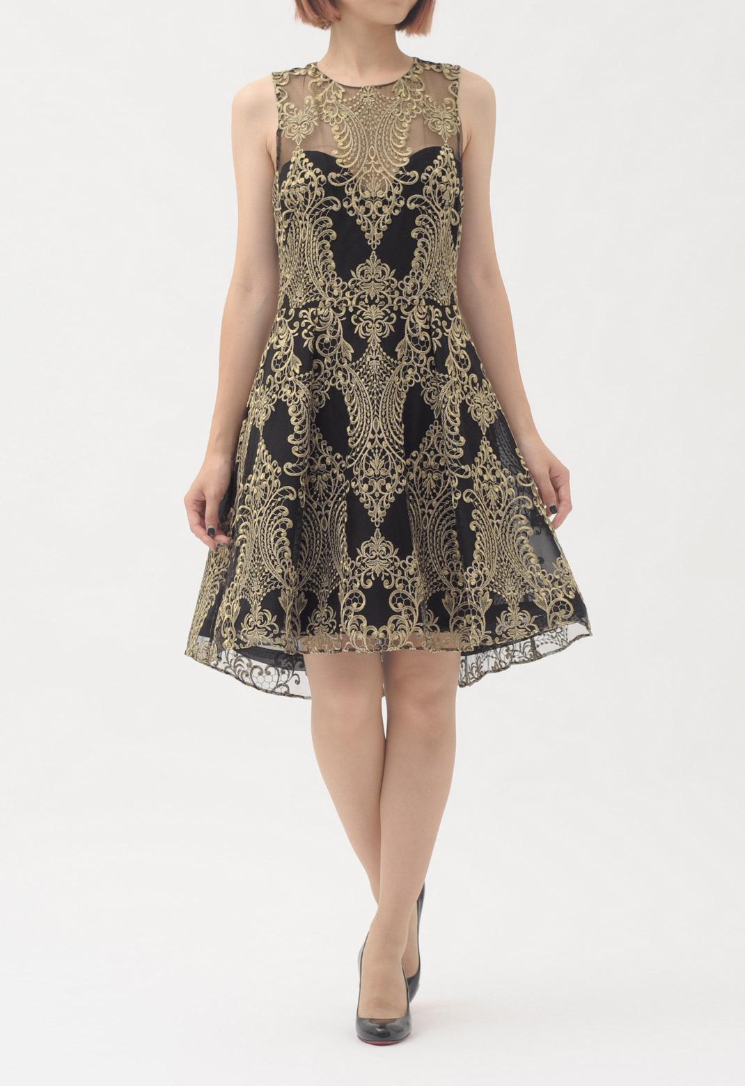 ゴールド刺繍 ノースリーブ ドレス