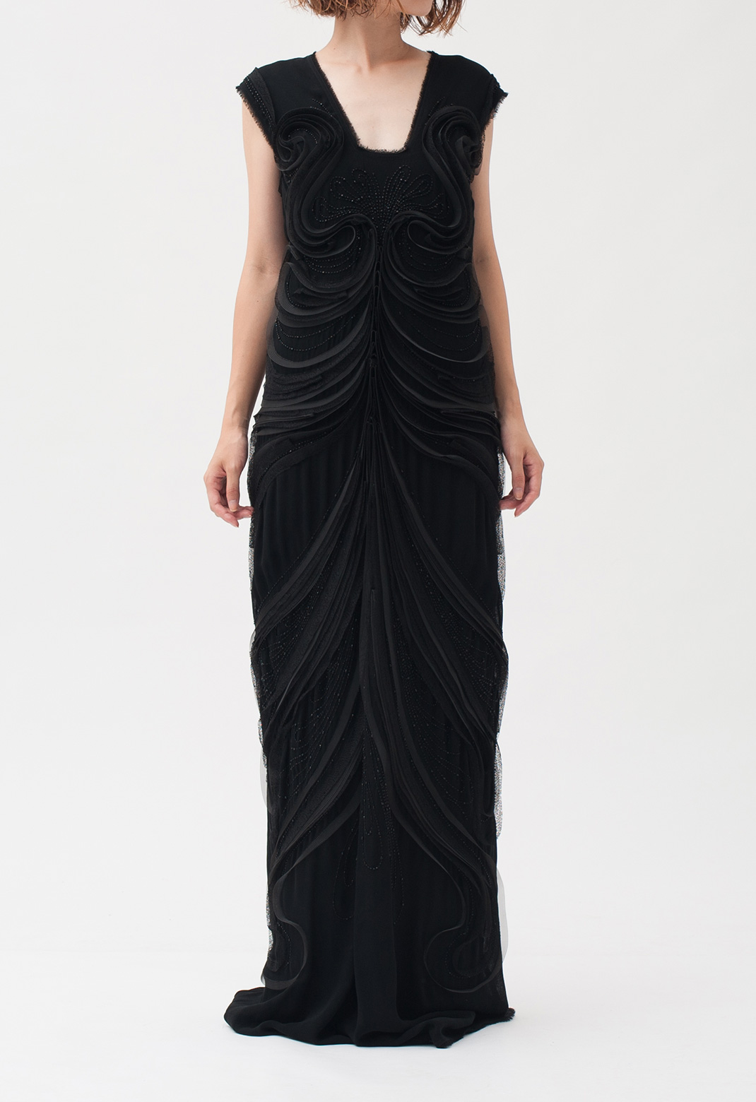 ビーズ×曲線モチーフ ノースリーブ ロング ドレス